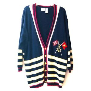 PLUS SIZE NAUTICAL THEME CARDIGAN ~ SIZE 2X ⚓️🛳⚓️